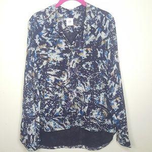 cabi M Black Chiffon Floral Blouse Top Tee Shirt B